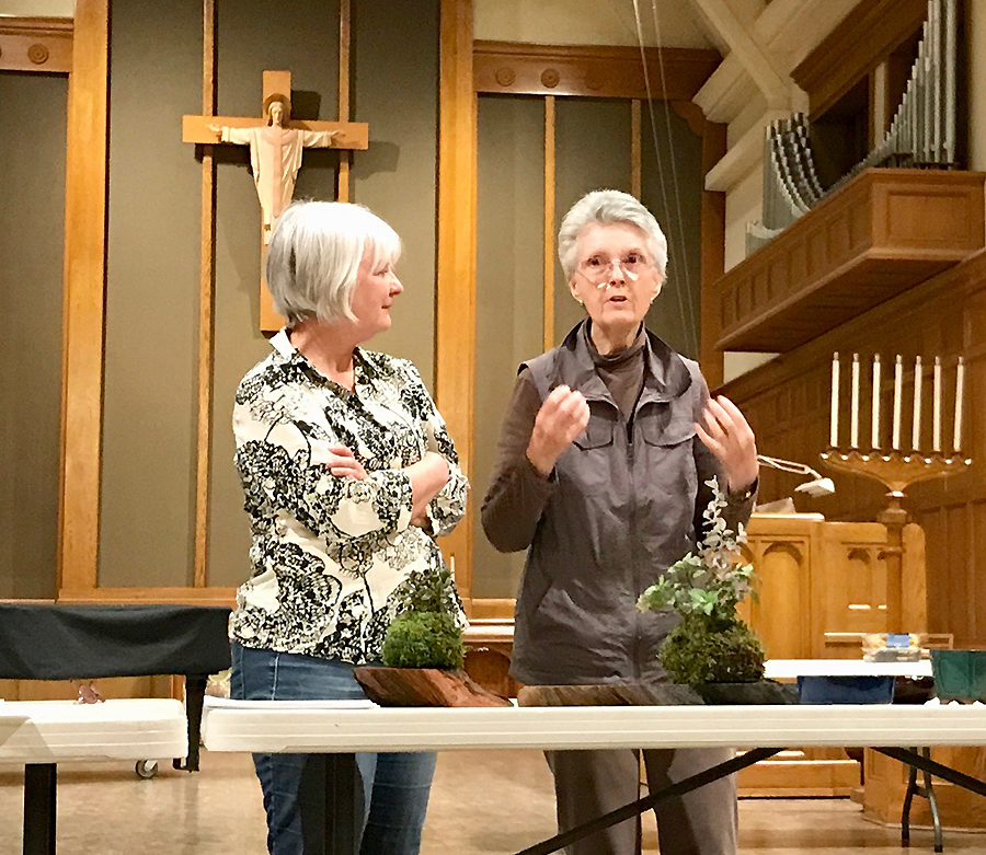 Charlene Fischer (L) and Barbara Phillips (R) discuss setup duties for our upcoming show