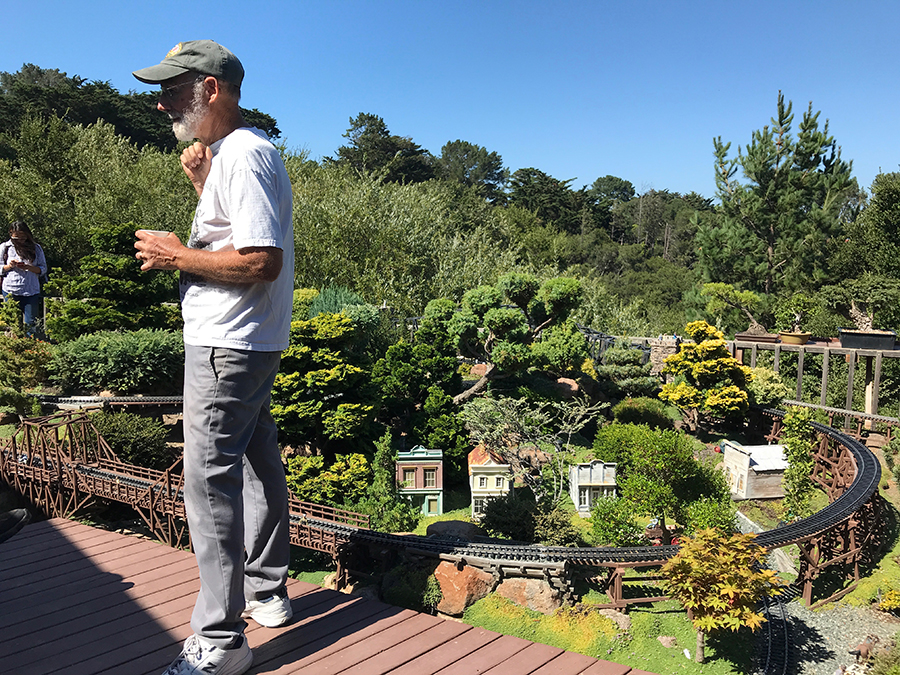 Richard discussing the construction of his garden railroad